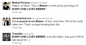 "Screen capture of tweets containing ""everyone loves Bieber"""