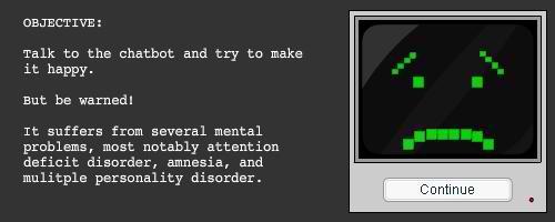 Pantalla para explicar los trastornos mentales de Chatbot
