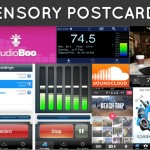 Collage of apps used to make sensory postcards